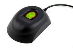 Dispositivo biométrico con la huella digital verde y roja fotografía de archivo libre de regalías