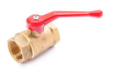 Dispositivo bonde de encanamento de bronze - válvula da água isolada no branco foto de stock royalty free