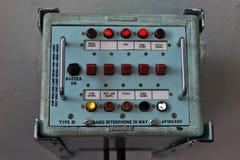 Dispositivo de comunicação retro do interphone a bordo do barco da Armada militar Foto de Stock