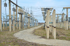 Dispositivo de distribución al aire libre para las subestaciones eléctricas Imagen de archivo
