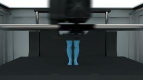 dispositivo de impresión 3D que crea un cuerpo masculino Se apresura el proceso entero Animación realista ilustración del vector