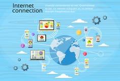 Dispositivo de Internet social do conceito da conexão de rede ilustração stock