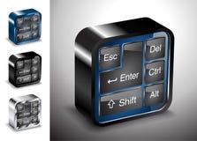 Dispositivo del bottone della tastiera delle icone di elettronica dei computer Immagine Stock