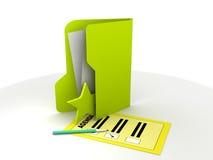 Dispositivo di piegatura con il documento di ordine del giorno Fotografie Stock Libere da Diritti
