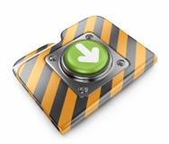 Dispositivo di piegatura di trasferimento dal sistema centrale verso i satelliti con il tasto. icona 3D   Immagini Stock