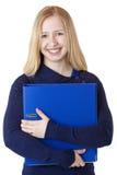Dispositivo di piegatura di trasporto del documento della bella donna felice Fotografia Stock Libera da Diritti