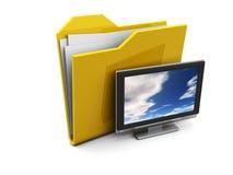 Dispositivo di piegatura ed icona della TV Fotografie Stock Libere da Diritti