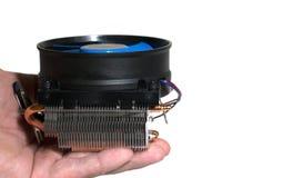 Dispositivo di raffreddamento nella mano dell'uomo Fotografia Stock Libera da Diritti