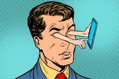 Dispositivo e sentido do olhar ilustração do vetor