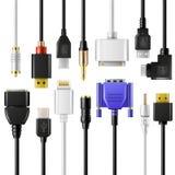 Dispositivo eléctrico del cargador del teléfono del vector del cable de alambre del USB de cargar el sistema del ejemplo de la te libre illustration