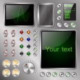 Dispositivo electrónico extraño equipado de las pantallas, de los interruptores y de los indicadores ilustración del vector