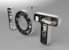 Dispositivo elegante en la palabra IoT Imágenes de archivo libres de regalías