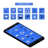 Dispositivo esperto da casa e de controle com ícones e elementos diferentes Fotografia de Stock Royalty Free