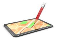 Dispositivo móvel 3d do GPS. coloque um curso. Isolado Imagens de Stock Royalty Free