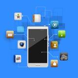 Dispositivo móvel com um grupo de ícones lisos Fotografia de Stock