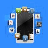 Dispositivo móvel com um grupo de ícones lisos Foto de Stock Royalty Free