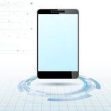 Dispositivo mobile moderno sopra gli anelli di tecnologia illustrazione di stock