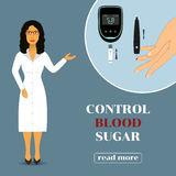 Dispositivo per la misurazione del livello della glicemia Medico in cappotto del laboratorio Fotografia Stock