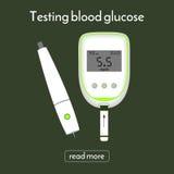 Dispositivo per la misurazione glicemia e della lancetta Metro del glucosio Fotografie Stock