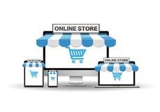Dispositivos con la tienda en línea Foto de archivo libre de regalías