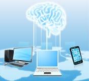 Dispositivos conectados con el cerebro central Fotografía de archivo
