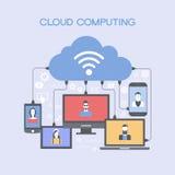 Dispositivos conectados con la nube libre illustration
