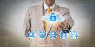 Dispositivos conectados de Accessing Data On do gerente Fotos de Stock