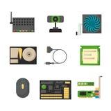 Dispositivos da eletrônica dos acessórios componentes da rede das peças do computador os vários e processador do computador de se ilustração royalty free