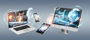 Dispositivos da tecnologia com os ícones e os gráficos que voam a rendição 3D Imagens de Stock Royalty Free