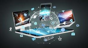 Dispositivos da tecnologia com os ícones e os gráficos que voam a rendição 3D Imagem de Stock