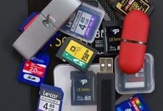 Dispositivos de almacenamiento de Digitaces Fotografía de archivo libre de regalías