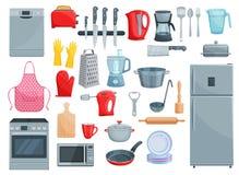 Dispositivos de cocina e iconos del vector del dishware fijados ilustración del vector