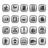 Dispositivos de cozinha e ícones do kitchenware Fotografia de Stock Royalty Free