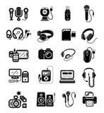 Dispositivos de Digitaces en los iconos negros del color fijados Fotografía de archivo