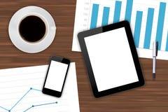 Dispositivos de Digitaces y cartas financieras con café libre illustration