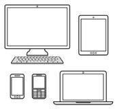 Dispositivos de Digitas ilustração royalty free