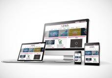 Dispositivos de Digitas com Web site responsivo da notícia ilustração royalty free