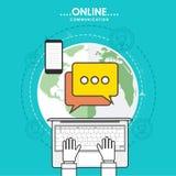 Dispositivos de Digitas para o conceito em linha de uma comunicação Fotos de Stock
