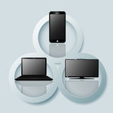Dispositivos de Digitas: telefone celular, portátil e tevê Imagem de Stock