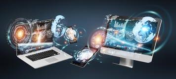 Dispositivos de la tecnología con los iconos y los gráficos que vuelan la representación 3D ilustración del vector