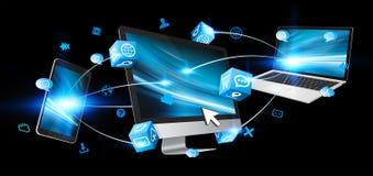 Dispositivos de la tecnología conectados el uno al otro Fotografía de archivo libre de regalías