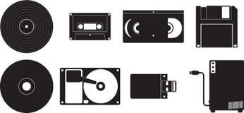 Dispositivos del almacén de datos fijados Foto de archivo libre de regalías