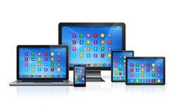 Dispositivos del ordenador fijados Imagen de archivo libre de regalías