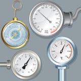 Dispositivos del vector Indicador de presión del manómetro del barómetro Imagen de archivo libre de regalías