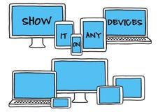Dispositivos desenhados à mão, grupo do vetor Imagem de Stock Royalty Free
