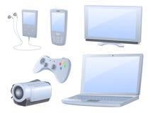 Dispositivos detalhados elevados dos media ajustados Fotos de Stock