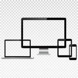 Dispositivos digitales modernos con la maqueta transparente de la pantalla Fotografía de archivo libre de regalías