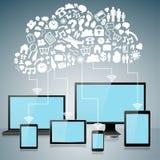 Dispositivos do computador com ícones de computação da nuvem Fotos de Stock Royalty Free