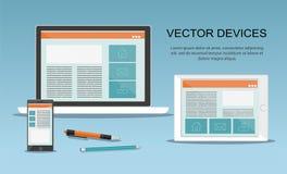 Dispositivos do vetor Design web responsivo Fotos de Stock Royalty Free