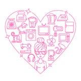 Dispositivos e coração do quadro da mulher Foto de Stock Royalty Free